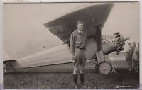 RPPC - Charles Lindbergh with Spirit of St. Louis Airplane - 1920s era