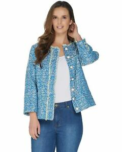 Susan-Graver-Womens-Tweed-Button-Front-Jacket-8-Blue-Multi-A301156