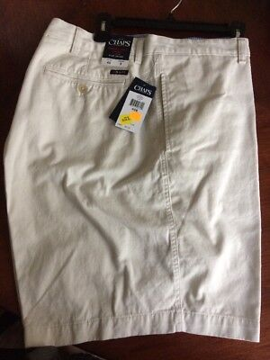 New Mens Chaps Ralph Lauren Washed Twill Chino Flat Front Shorts Stone 46x9