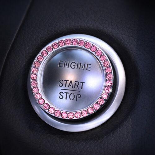 Pink Auto Decorative Accessories Car Button Start Switch Rhinestone Diamond Ring