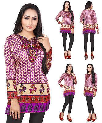 UK STOCK Pink Women Fashion Indian Short Kurti Tunic Kurta Top Shirt Dress 106B