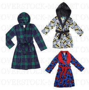 Komar Kid Boys Hooded Plaid Plush Robe