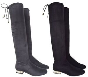 WOMENS LADIES WIDE CALF OVER THE KNEE RIDING ELASTICATED FLAT SHOES BOOTS SZ 3-8