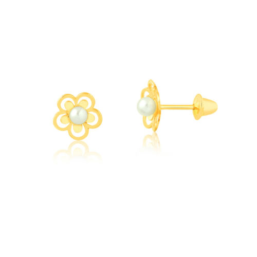 18k Solid Yellow Gold Flower Pearl Push Back Stud Earrings for Infants Children