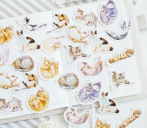 45pcs//pack Mixed Cute cat sticker decorative Diary album Sealing stickers