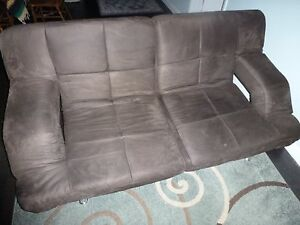Details about Dark Brown Microfiber Sofa Bed