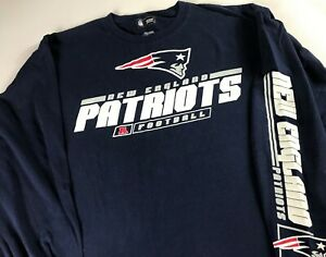 New-England-Patriots-Long-Sleeve-Shirt-Mens-L-XL-Writing-On-Arm-NFL-Football-Tee