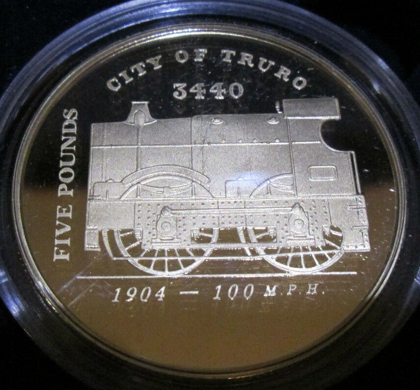 2006 ROYAL MINT GOLDEN AGE OF STEAM TRAINS £5 SILVER PROOF COIN CHANNEL ISLANDS*