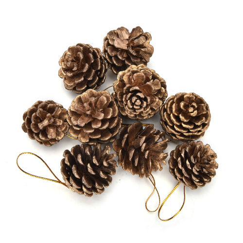 9pcs Christmas Pine Cones Baubles Santa Claus Xmas Tree Party Decor Ornament ZY