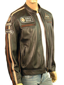 Black Jacket Leather Cafe Retro Nappa Real Biker New Racer Motorcycle Style Mens avzSwqq