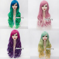 70cm Gradient Mixed Colours Long Curly Synthetic Women Anime Lolita Cosplay Wig