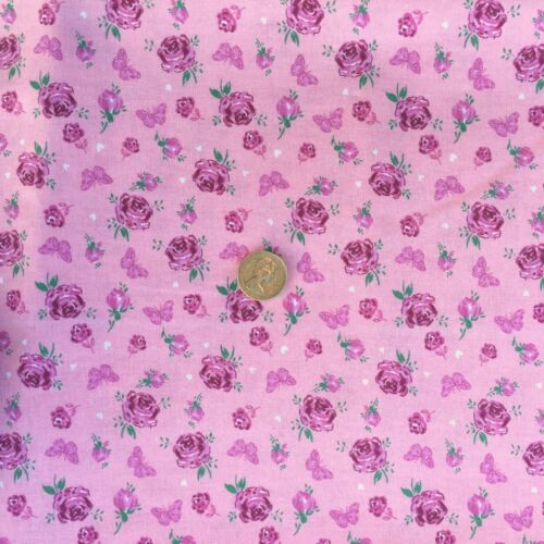 100/% Cotton Fabric Blooming Roses Butterflies Blue Green Pink Cream Per Metre