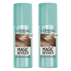 L'Oreal Paris Magic Retouch Grey Root Cover Spray Temporary 4 Light Brown x 2