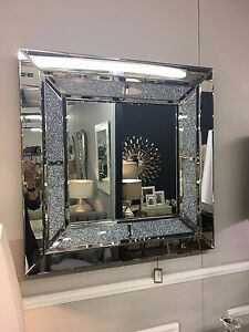 Details About Large Sparkly Silver Square Wall Mirror Diamond Glitz Crushed Gl Crystal 90cm