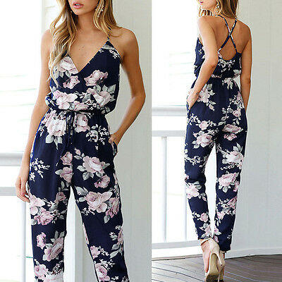 Women V-Neck Floral Printed Jumpsuit Playsuit Party Trousers Rompers Long Romper