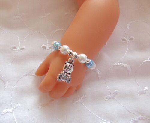 """Bambole Blu Bianco Argento Orsacchiotto Braccialetto Fit bambino nato Annabell Reborn 15-19/"""""""
