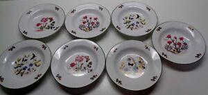 Set-of-7-Royal-Cuthbertson-Florabunda-8-1-4-RIMMED-SOUP-BOWLS-flower-pattern