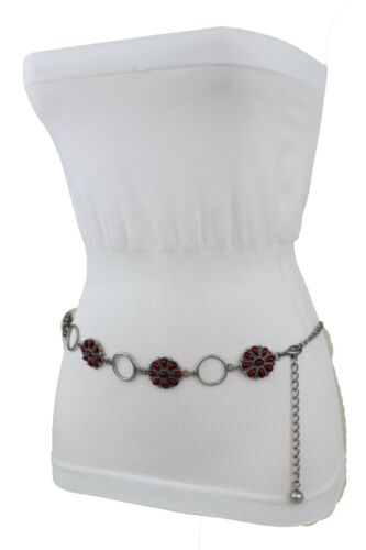 Women  Antique Silver Skinny Belt Red Flower Beads Metal Chains Hip Waist S M