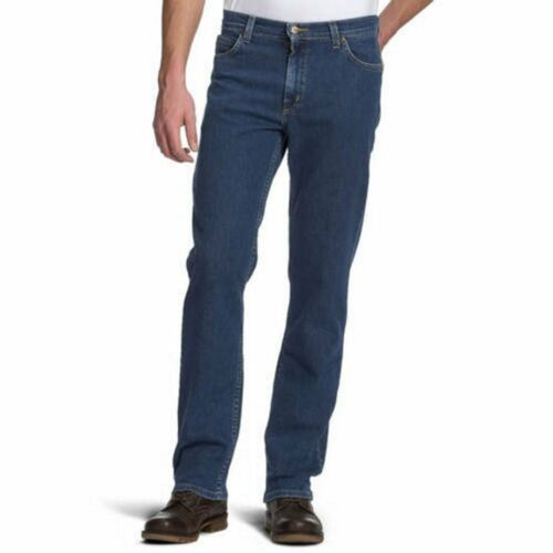 Neu Lee Brooklyn Herren Regular Bequeme Passform Jeans Dunkel Steinwäsche