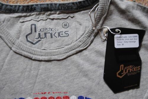 Joystick Junkies Union Jack paillettes crâne T shirt officiel de jeu UK BNWT Brit