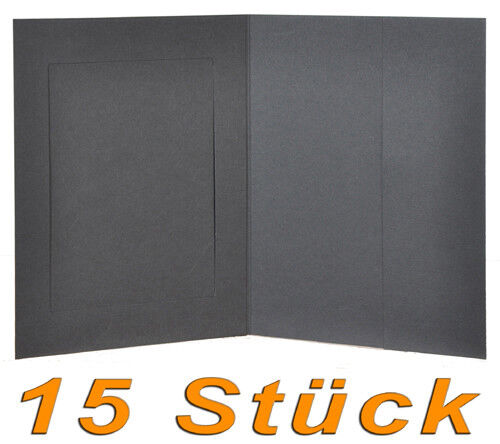 Leporello//bildermappe F 13x18 con bolsillo lateral en negro 15x portraitmappe//