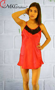 MKG-Fashions-Sexy-Satin-Chemise-w-Contrast-Lace-Deep-V-Back-Red
