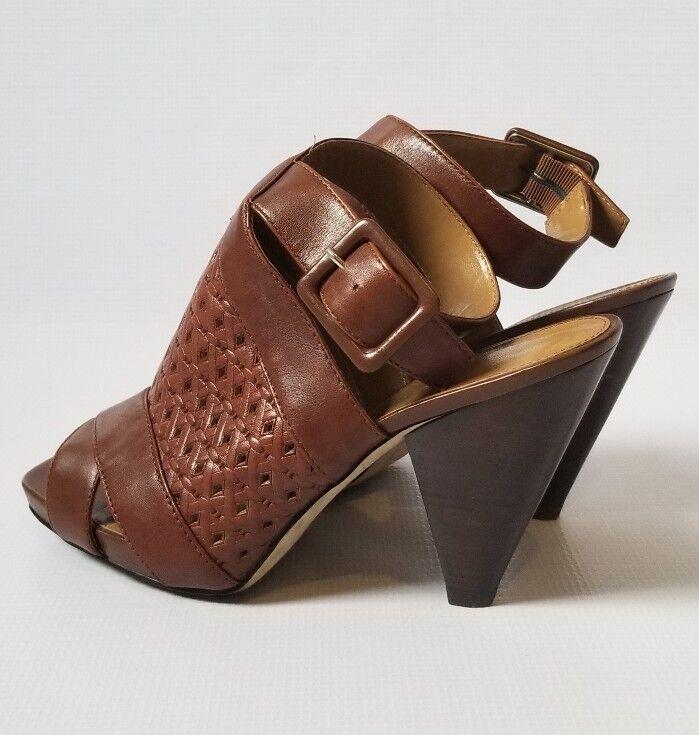 Franco Franco Franco Sarto Womens Woven Mules Sandals Cone Heels Peep Toe Size 9.5 346502