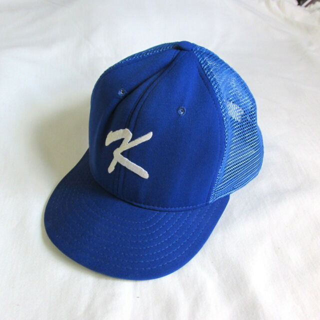 Vintage Classic Snapback mesh trucker hat cap initial letter K blue sz L