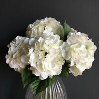 Bunch Of 5 White Faux Silk Hydrangeas, Ivory Cream Artificial Flower