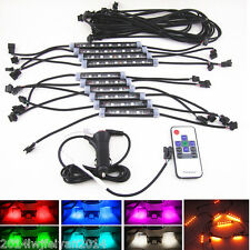 10Pcs 7 Color RGB LED Knight Rider Scanner Car Interior Decor Light Bar + Remote