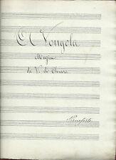 Antico Manoscritto Musica 1892 Canzone Napoletana A' Vongola Di Chiara Piano