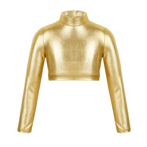 Girls Gymnastics Dance Crop Top Shiny Metallic Show Costumes Performing Outfit