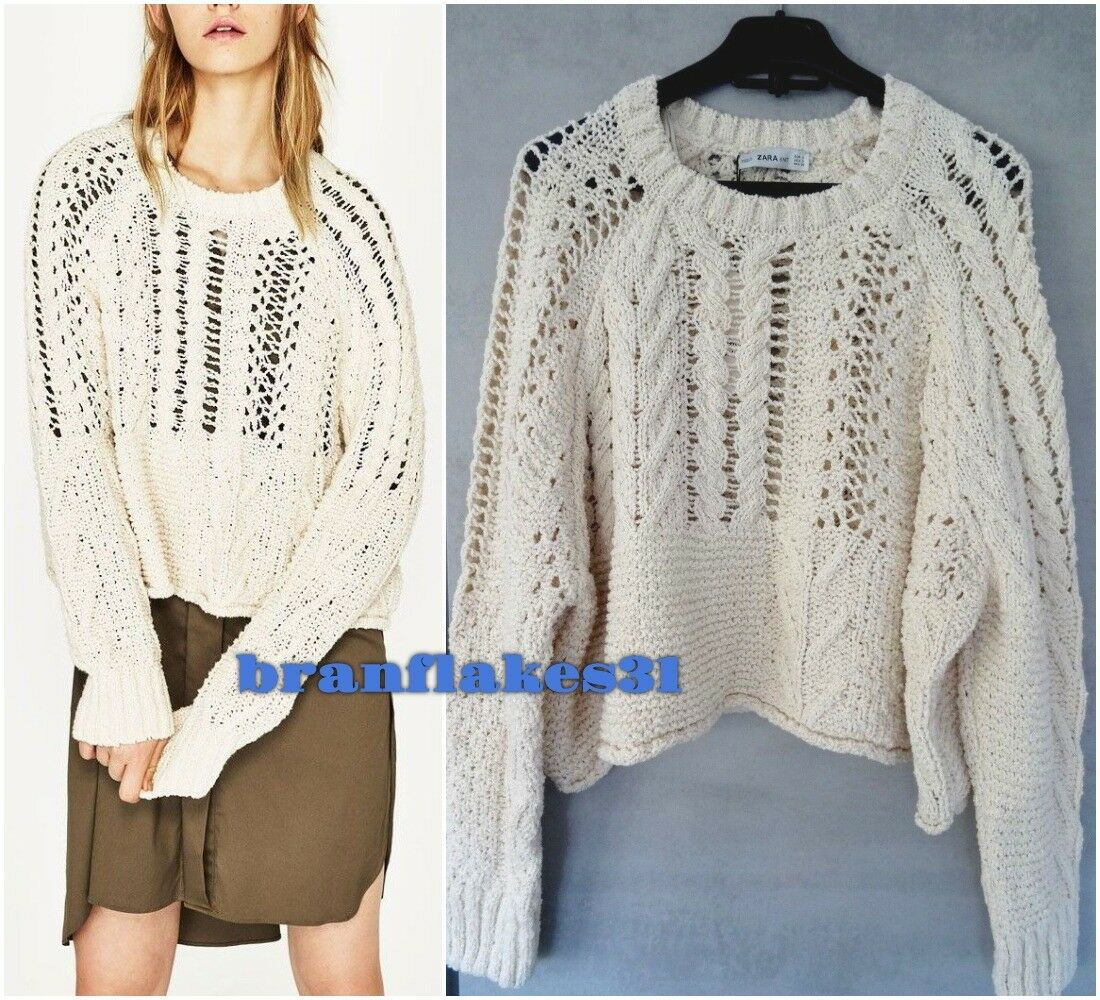 e9a77b2ed ZARA ZARA ZARA ECRU LOOSE FIT OPEN-WORK CABLE KNIT SWEATER JUMPER ...
