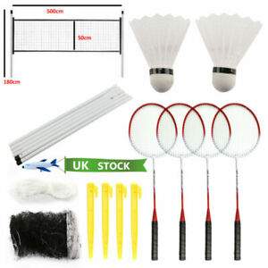 New-4-Player-Badminton-Set-With-Racket-Net-Shuttlecock-Outdoor-Garden-Game-Sport
