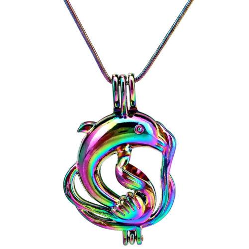 "S-PC-311 22/"" Rainbow chaîne serpent choisir une Perle Dauphin Animal Médaillon Pendentif"