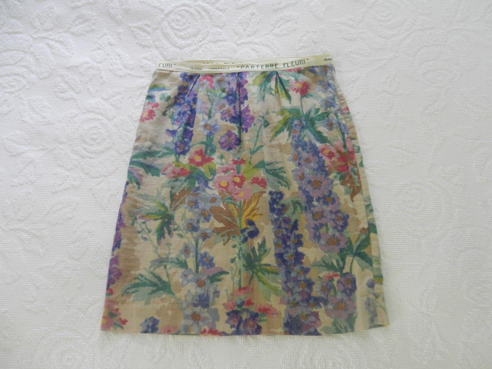 Floreat Anthropologie women's Gladiolus floral linen blend skirt, Size  6