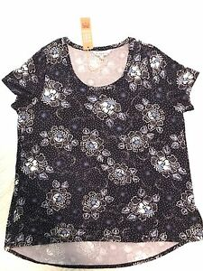Ladies-Size-16-Navy-Blue-Floral-Stretch-Top