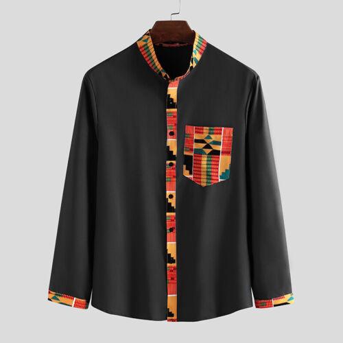 Men/'s African Tribal Shirt Long Sleeve Hippy Dashiki Blouse Button Down Tops New