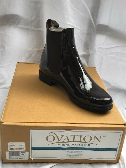 BRAND NEW Ovation Marronee Patent Leather Saddle Seat  Riding stivali, Dimensione 6.5  negozio outlet