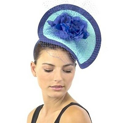 Stylish Ladies JENDI BLUE Formal Spring Racing Oaks Day Fascinator Headband