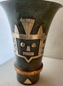 """MCM MIXED METAL MEXICAN LOOK VASE / ENRIQUE ZAVALA STYLE-UNSIGNED- 8""""T"""