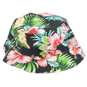 Image is loading Tropical-Flower-Hawaiian-Pattern-Sun-Bucket-Fitted-Small- 5a06d88217c1