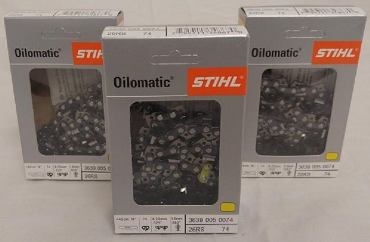 3-Stihl Oilomatic motosierras 26 RS 74 18in. 74 Link 325 .063 3639 005 0074