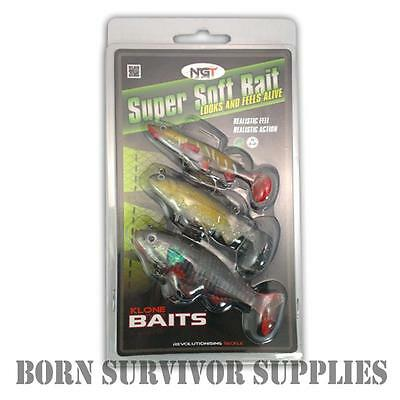 3 x REALISTIC RUBBER FISH BAITS - Survival Fishing Lures Soft Bait Plug Spinner
