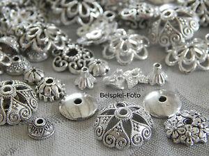 100-200-Perlenkappen-silber-MIX-4mm-15mm-Metall-Perlkappen-Kappen-div-Groessen