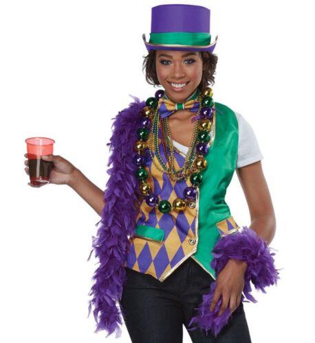 Mardi Gras Adult Womens Costume Kit Argyle Vest Bow Tie Collapsible Hat S//M-L//XL
