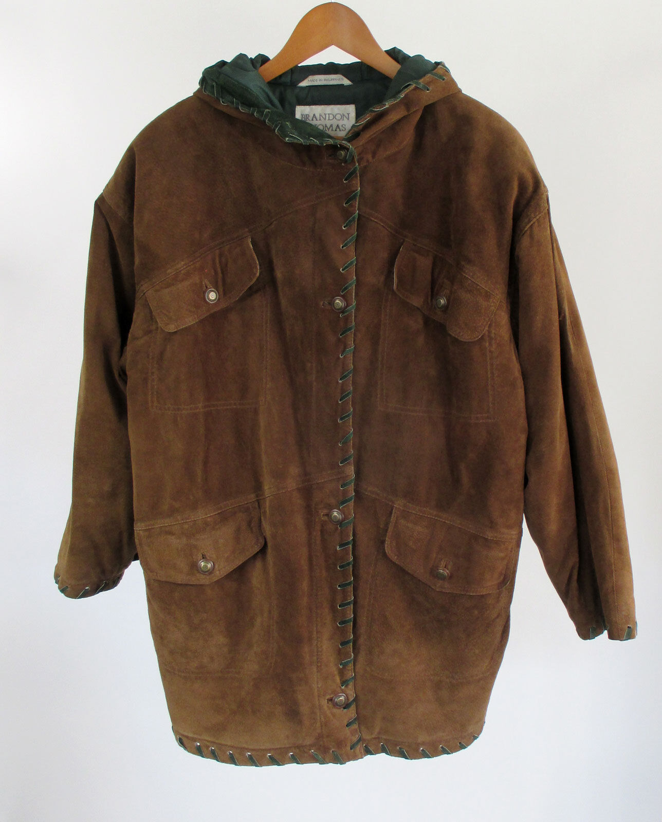 Brandon Thomas Suede Leather Barn Coat Brown Hooded Rustic Fully Lined Sz Large