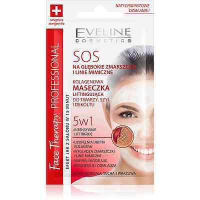 EVELINE SOS  Antifalten Collagen Lifting Gesichtsmaske für Tiefe Falten 5in1 7ml