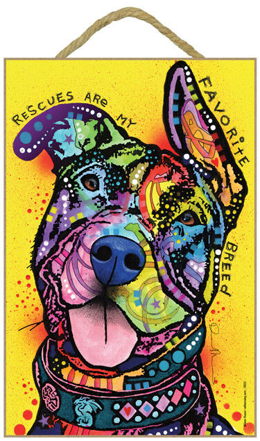 Pitbull - Rescues are my favorite breed 7'x10.5 Colorful Dean Russo Dog Sign 442