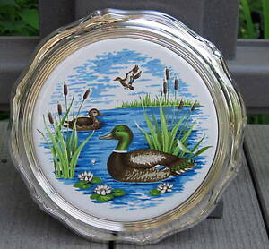 Details about VINTAGE ROGERS SILVER PLATE & CERAMIC DUCK TRIVET W BOX CAN  BE HUNG